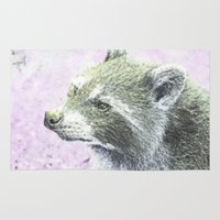 racoon Area & Throw Rugs featuring sketched racoon by MehrFarbeimLeben