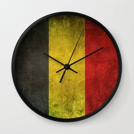 Old and Worn Distressed Vintage Flag of Belgium Wall Clock