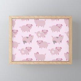 Cute Pink Piglets Pattern Framed Mini Art Print