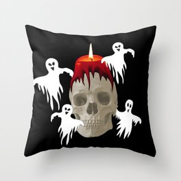Halloween Skull with candle and ghost monsters Throw Pillow