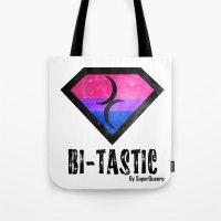 bisexual Tote Bags featuring Bi-Tastic Bisexual medalion  by SuperQueero
