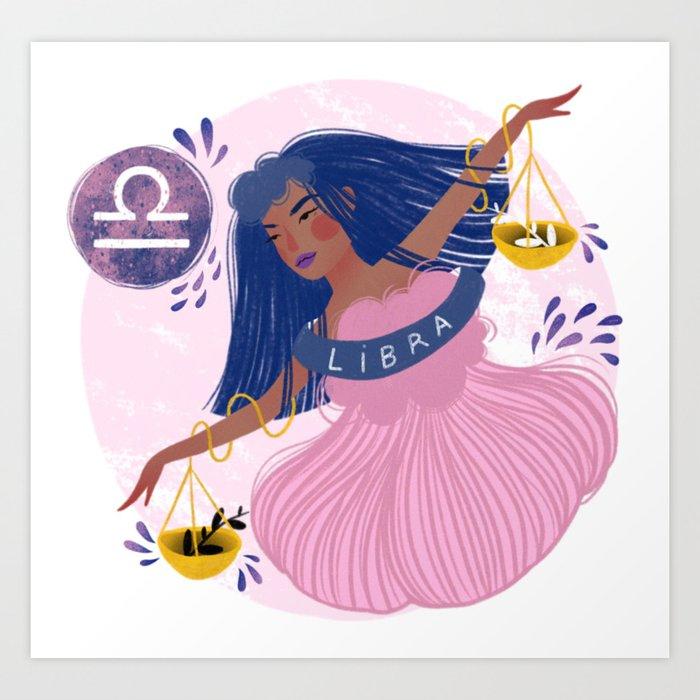 Libra Zodiac Illustration Art Print