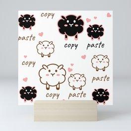Black and white sheep family Mini Art Print