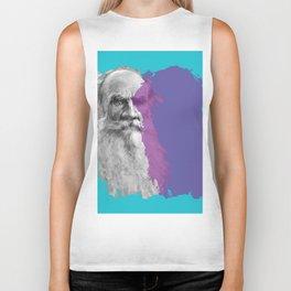 Leo Tolstoy portrait blue and purple Biker Tank