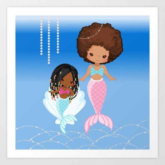 Mom And Daughter Sea Pearls Black Mermaids Afro Mermaid Art Print By Zuriblackart Society6