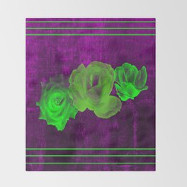 Triple Modern Roses With Stripes Throw Blanket