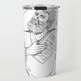 Moses With Ten Commandments Drawing Black and White Travel Mug