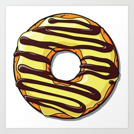Donut with Frosting and Icing - Brown Yellow Art Print