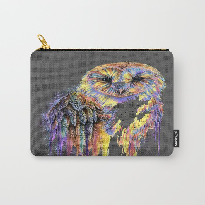 Colorful Owl Dark Background Carry-All Pouch