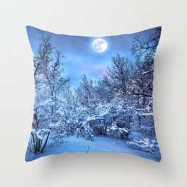 Spectacular Wonderful Snowy Winter Forest Full Moon HD Throw Pillow