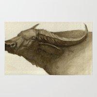 buffalo Area & Throw Rugs featuring Buffalo by Vito Quintans