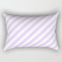 Chalky Pale Lilac Pastel and White Candy Cane Stripes Rectangular Pillow