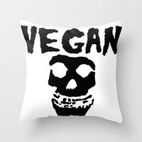 misfits Throw Pillows featuring vegan misfits by sQuoze