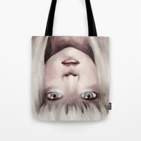 chandelier Tote Bags featuring Chandelier by Carolina Valtuille