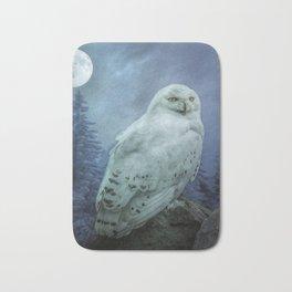 Moonlit Snowy Owl Bath Mat