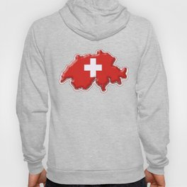 Switzerland Map with Swiss Flag Hoody