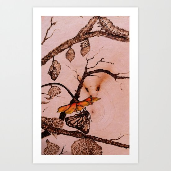Caterpillar to Butterfly Art Print