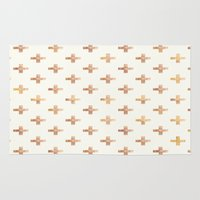 rose gold Area & Throw Rugs featuring Rose Gold Pattern by Jenna Davis Designs