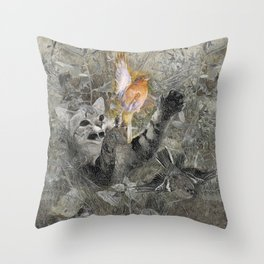 Red in tooth and claw - cat and bird Throw Pillow