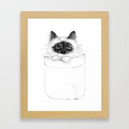 Puss in Pocket (B&W) Framed Art Print