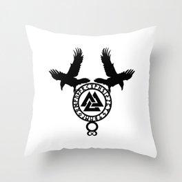 Raven - Valknut Throw Pillow