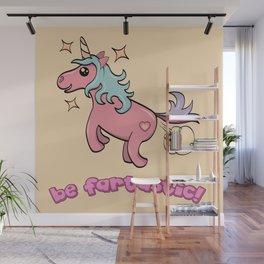 Be fartastic farting unicorn Wall Mural