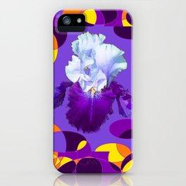 Artful Modern Purple-White Iris Yellow-Orange Design iPhone Case
