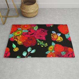 Watercolor Bouquet Floral in Black + Red Rug
