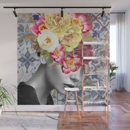 collage art-girl with flowers Wall Mural