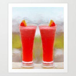 Strawberry Daiquiris Painting  Art Print