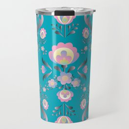 Dusty Blue Folk Flowers Travel Mug