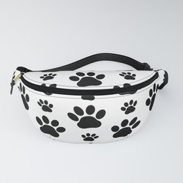 Dog Paws, Dog Traces, Animal Paws - Black White Fanny Pack