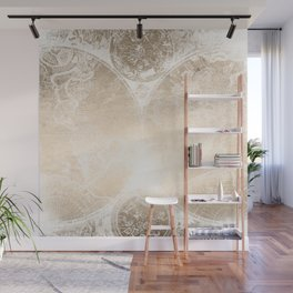 Antique World Map White Gold Wall Mural