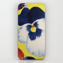 Blue and white Pansy on Yellow  iPhone Skin