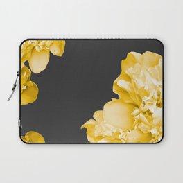 Yellow Flowers On A Dark Background #decor #society #homedecor Laptop Sleeve