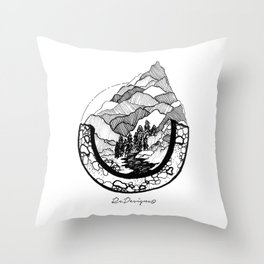 Mountainscape Black & White Throw Pillow