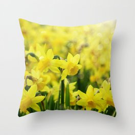 Bright Yellow Narcissus Throw Pillow