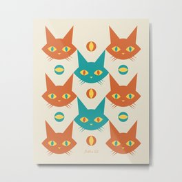 Mid-century Modern Abstract Cat Pattern, Vintage Cats in Orange and Teal Color Metal Print