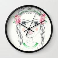frida kahlo Wall Clocks featuring frida kahlo by Lisa Bulpin