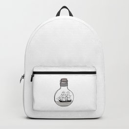 The ship in the glass bulb . Artwork Backpack