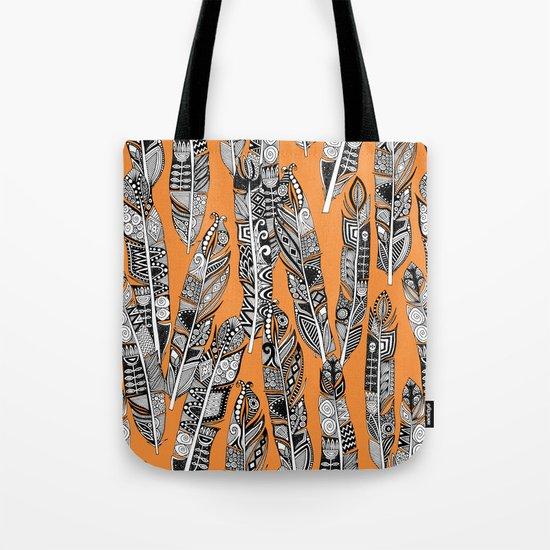 geo feathers orange Tote Bag