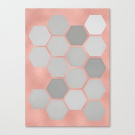 Honeycomb on Rose Gold Canvas Print