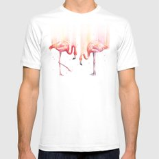 Two Flamingos Watercolor Tropical Birds Animals MEDIUM Mens Fitted Tee White