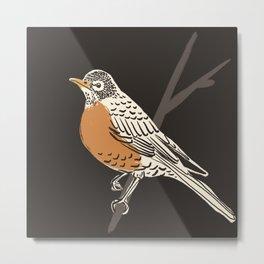 Dark American Robin Painting Metal Print
