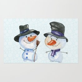 Two Snowmen Characters on Snowflake Background Rug