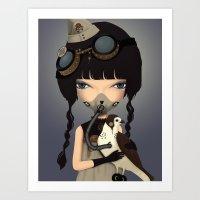pilot Art Prints featuring pilot by Anne  Martwijit