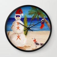 sandman Wall Clocks featuring Christmas Sandman by Vivid Perceptions