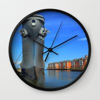 wisconsin Wall Clocks featuring Battleship Wisconsin by Raymond Earley