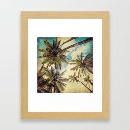 Vintage Blue Hawaii Palm Trees Framed Art Print