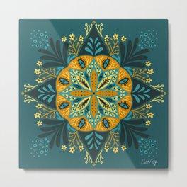 Sprouting Mandala – Teal Metal Print